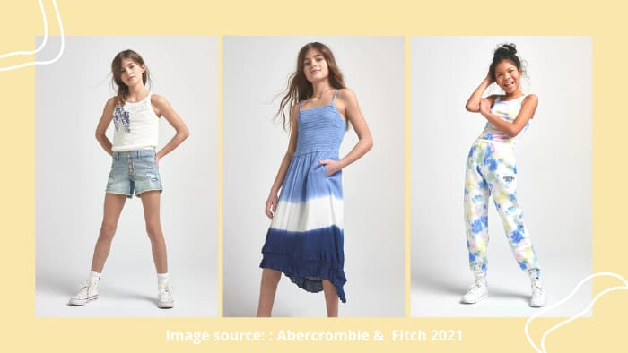 Abercrombie & Fitch clothing website tweens