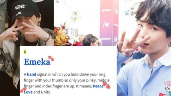 Emeka hand signal Yoongi