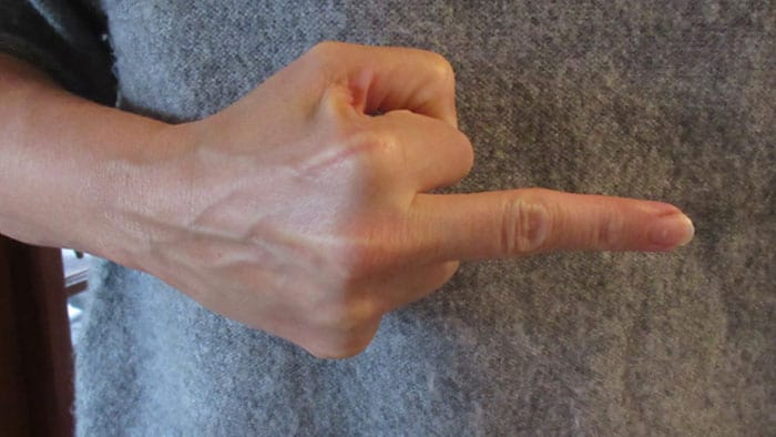 side middle finger gesture