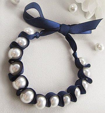 pearl ribbon bracelets