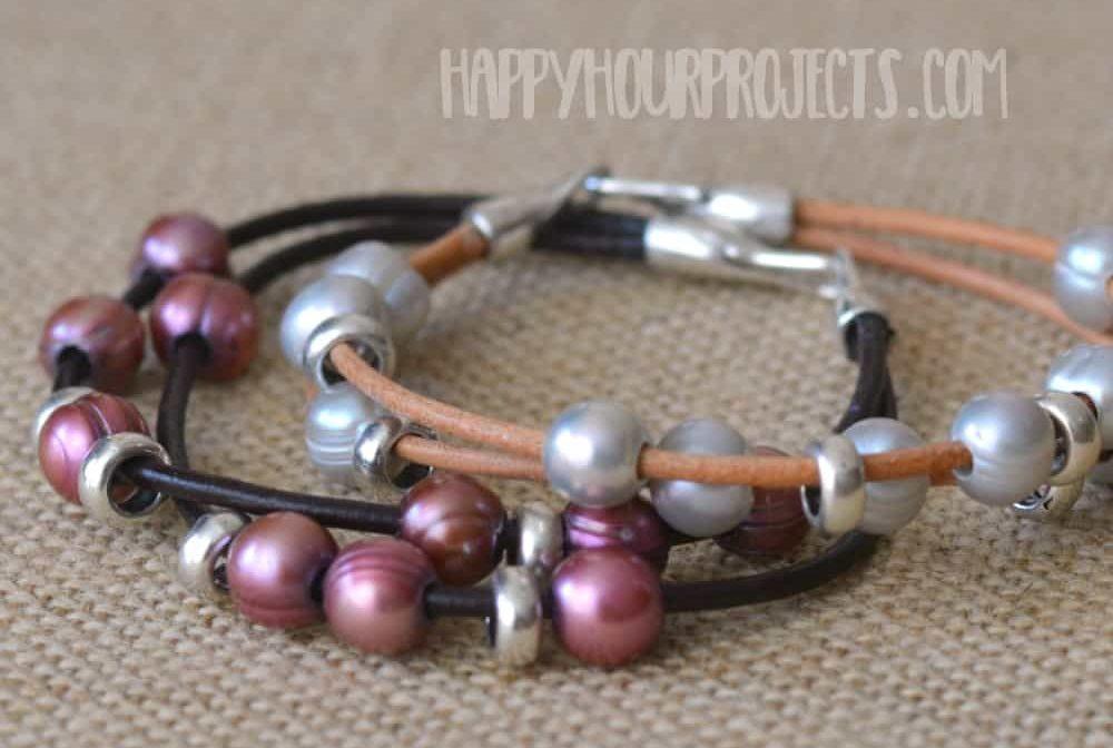 Leather beaded diy bracelet