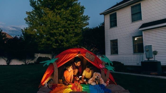 backyard campout summer vacation