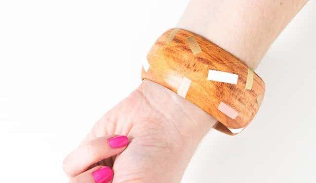 wood painted bracelet