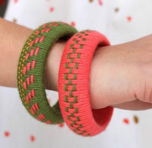 DIY woven yarn braceclets