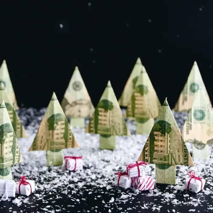 Christmas Tree money origami