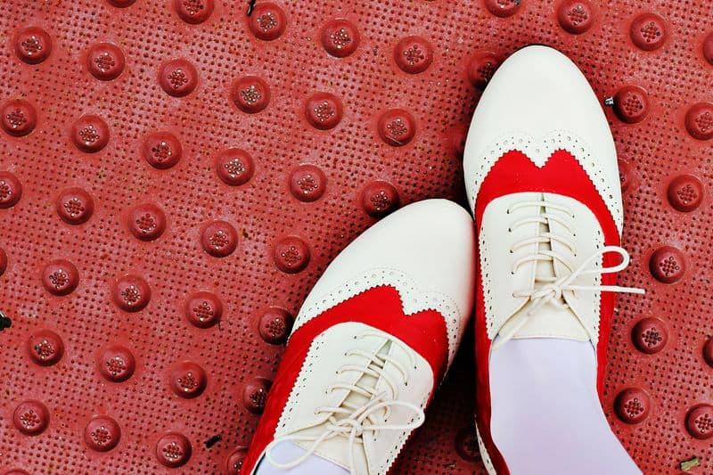 DIY Red Saddle Shoes