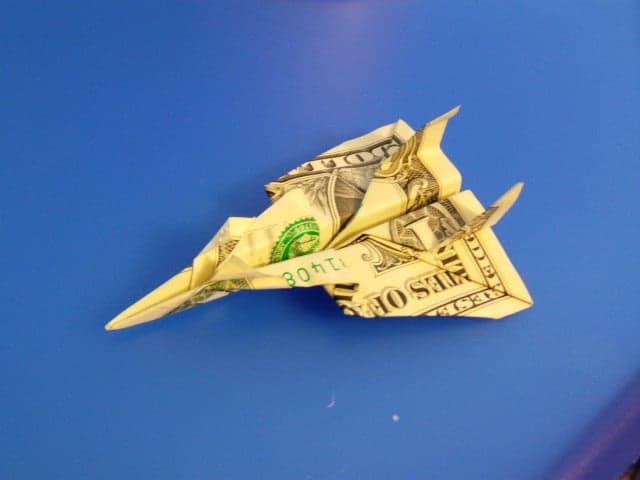 Dollar Bill Jet Fighter Origami