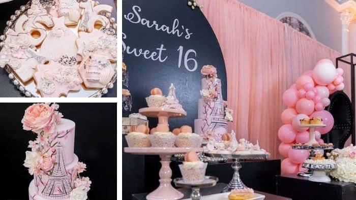 Paris theme Sweet 16 party