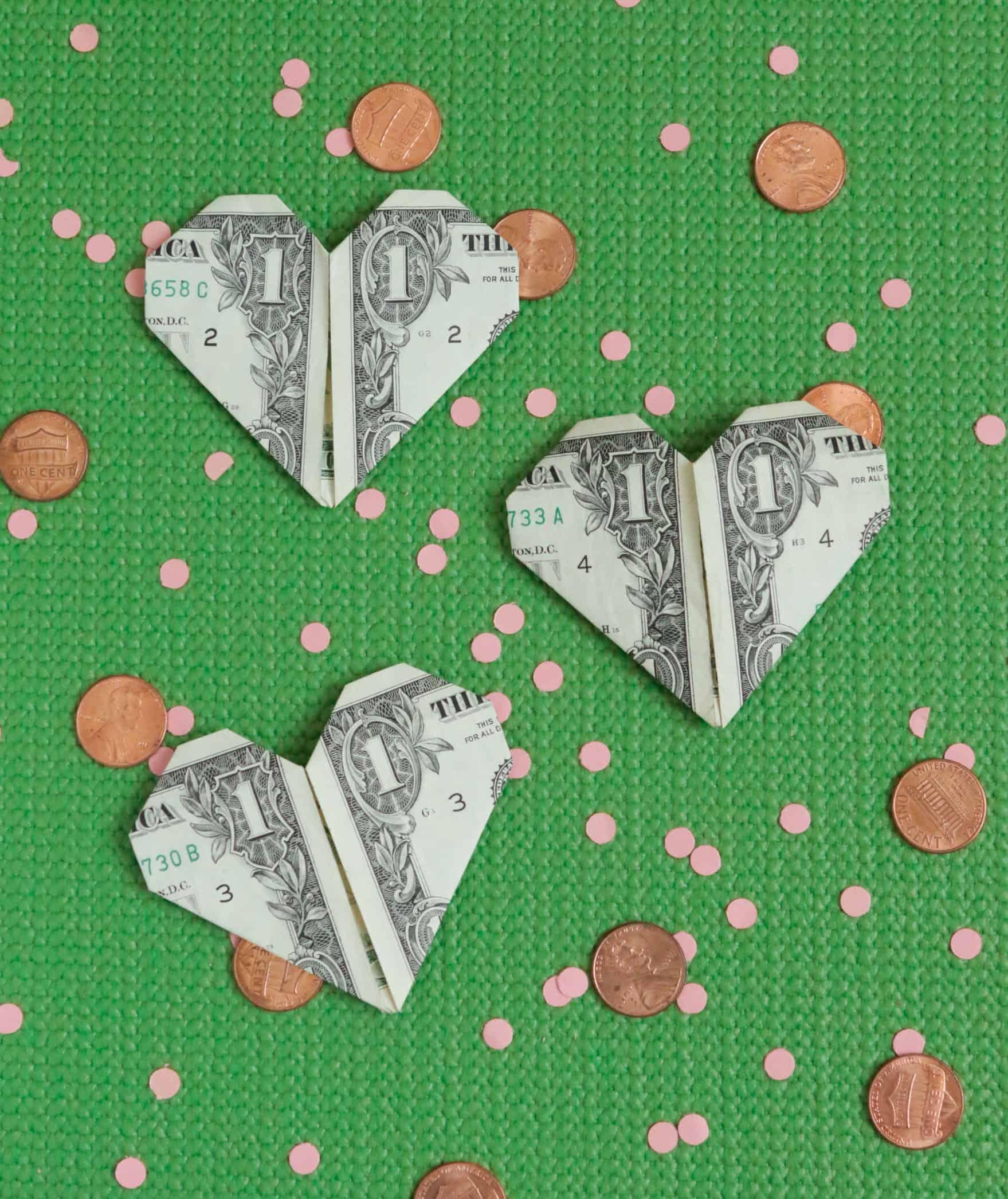 DIY money origami valentine hearts