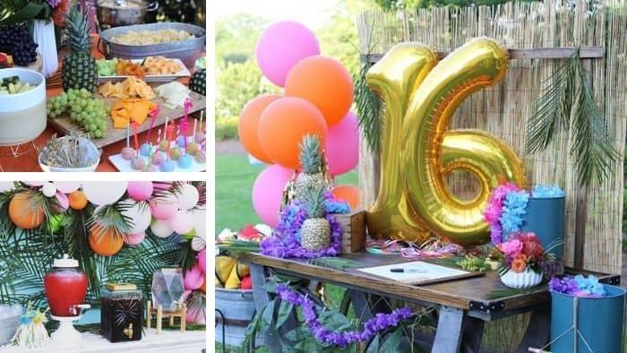 Luau theme sweet 16 idea