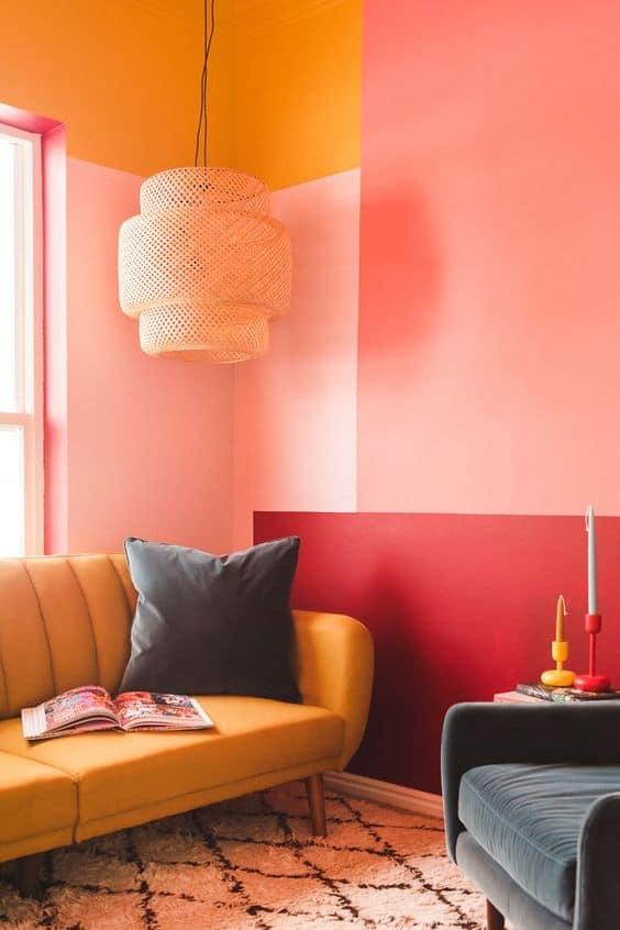 colorblocking pink & orange room decor idea
