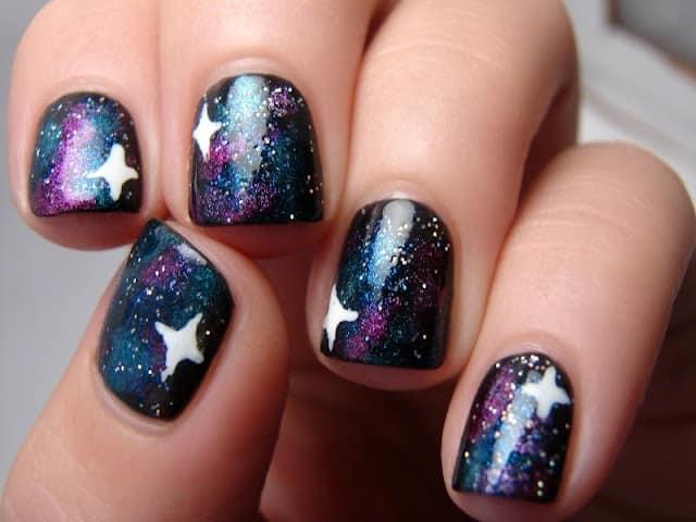 Glowing Galaxy Nails