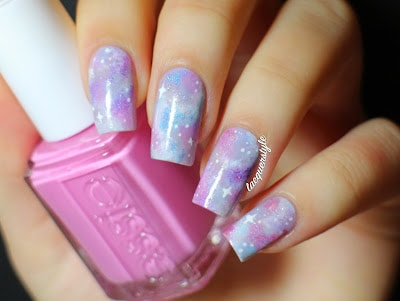 Holographic Pastel Galaxy Nails