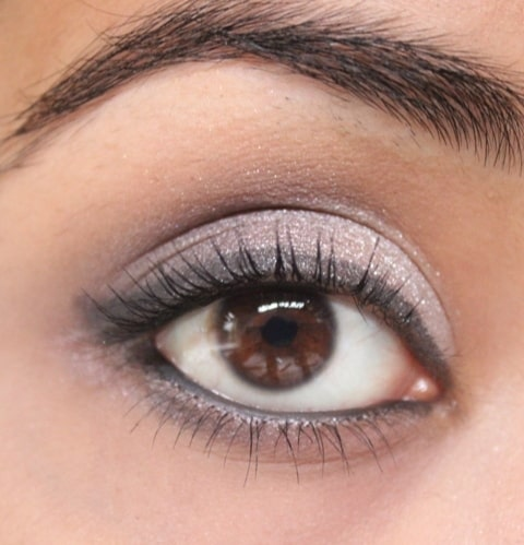 Metallic Silver and Purple-Grey Eye Shadow Look