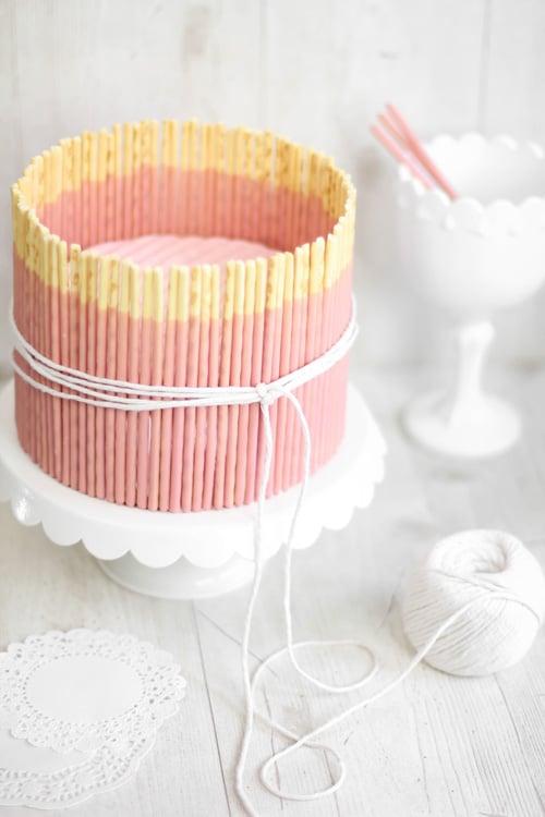 Pink Vanilla Pocky Stick Cake