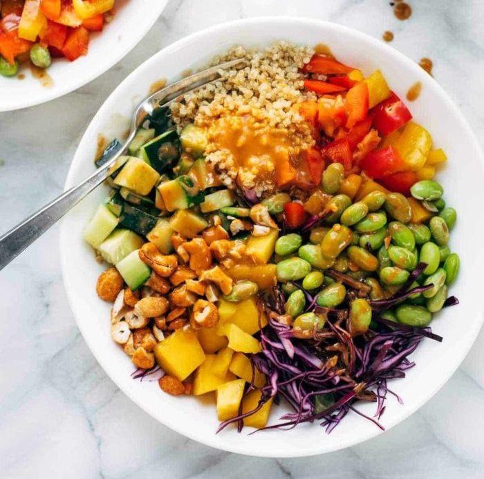 Quinoa Crunch Salad with Peanut Dressing