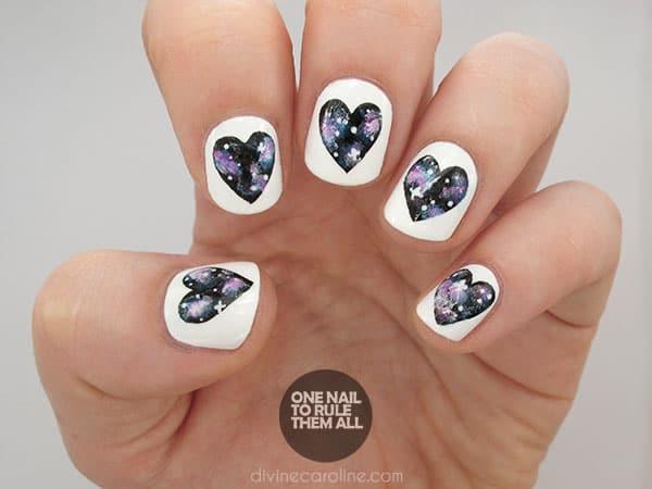 Galaxy Heart Nails