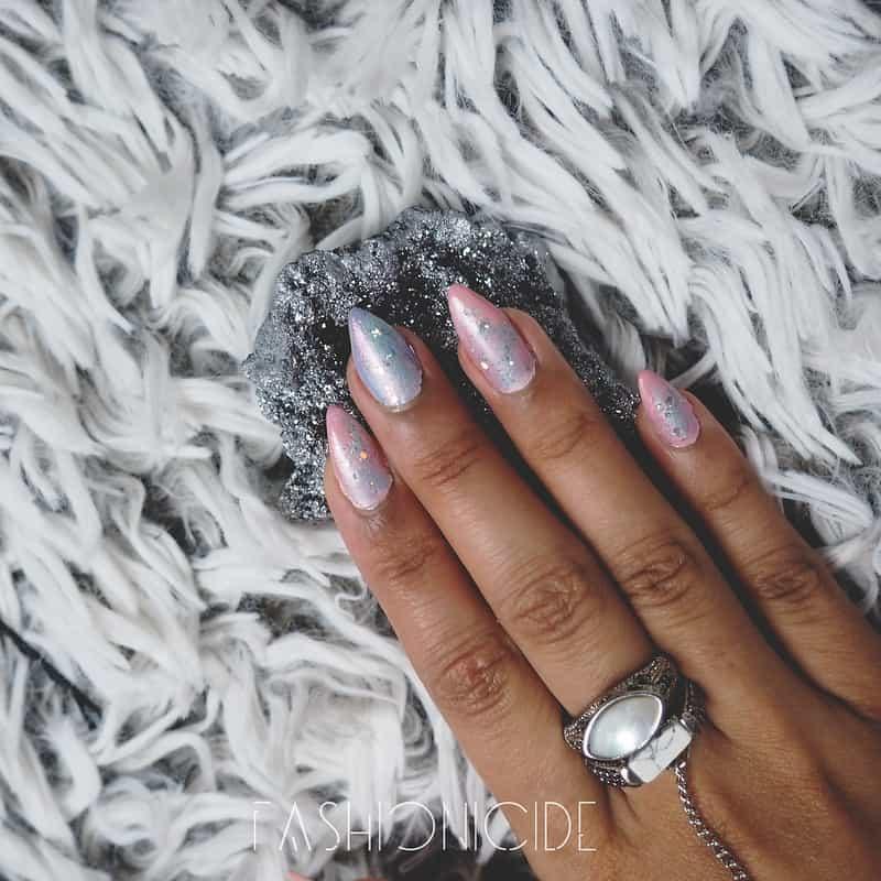 pink lilac galaxy nail art