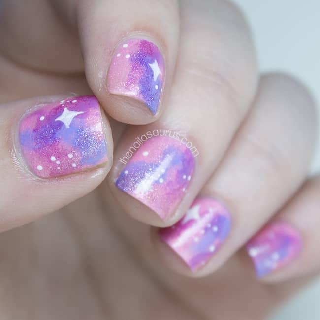 Shimmery Pink Galaxy Nail Art
